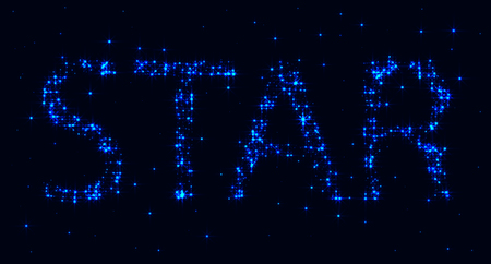 Bright glowing star inscription of blue stars and constellations on a dark background. Space pattern. Graphic design elements