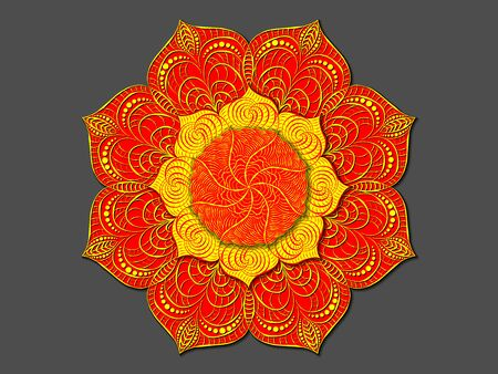 Decorative colored mandala. Radial volumetric pattern. Multilevel layered ornament.  Twisted and vegetable wavy elements.
