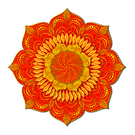 Decorative colored mandala in the style of Khokhloma. Twisted and vegetable wavy elements. Radial volumetric pattern. Multilevel layered ornament.
