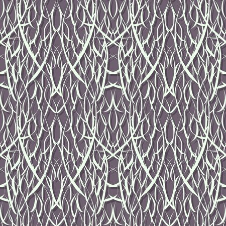 Abstract seamless background. Narrow white paper strips randomly intertwined. Illustration