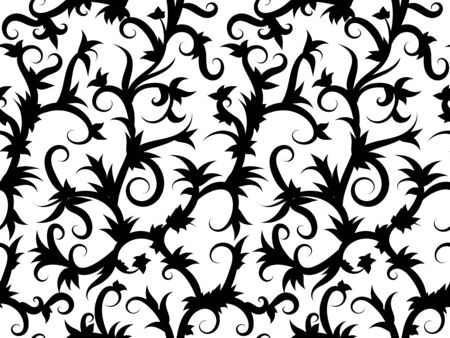 Seamless background of swirling tropical vines in black and white. Print for fabric. Ilustração