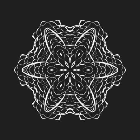 Round braided macrame napkin. White mandala on dark background 矢量图像