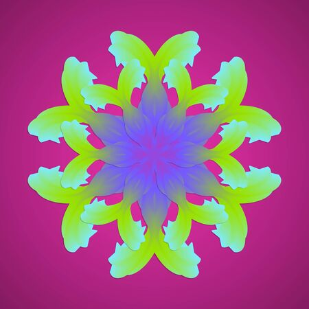 Bright two-layer mandala of iris petals in neon colors on a purple background