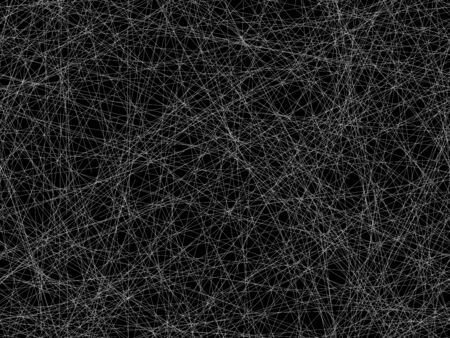 Abstract black and white seamless background. A chaotic intertwined pattern of tangled cobwebs in space