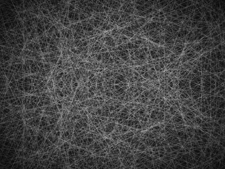 Abstract black and white background. A chaotic multi-layered pattern of tangled, intertwined webs in the air. Ilustração