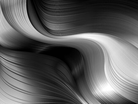 Dynamic wavy shapes and lines in 3D style with depth effect. Trendy abstract background of fluid flows with mirror Shine in gray metallic tones