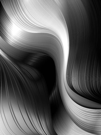 Dynamic wavy shapes and lines in 3D style with depth effect. Trending abstract background of fluid swirls. Material visualization of smoke