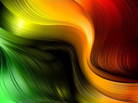 Dynamic futuristic shapes and lines in 3D style with depth effect. Trending abstract background of colored fluid waves in traffic light color