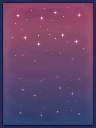 View of the pink evening sky with clouds and stars through the misted window. Wallpaper for your desktop or smartphone.