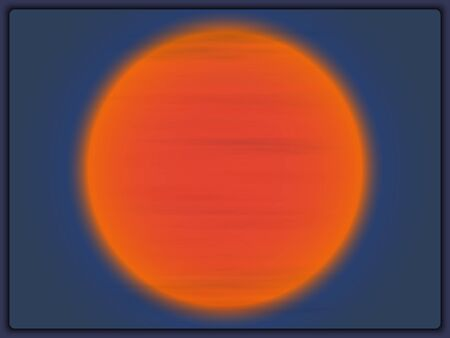 Bright orange sun at sunset close-up. Cirrus clouds in the sky against the background of the sun. The reverse side of Jupiter Ilustração