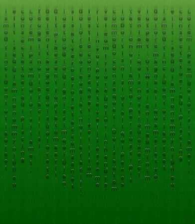 Falling characters as an element of an encrypted message. Stylized letters on a green background in the Matrix style