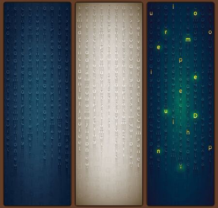 Beautiful bookmarks for books or Wallpapers for smartphones. A cryptographic tablet from the past in a fantasy style. Set of three parts. Secret message in the Matrix style
