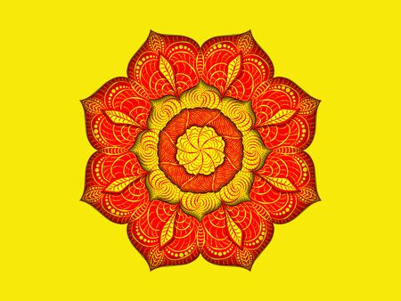 Decorative mandala. Radial cut-out paper pattern. Multilevel layered ornament. Red on yellow. Twisted and vegetable wavy elements.