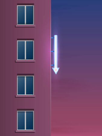 The side of the modern panel house. Decorative glowing neon arrow on the wall. Night landscape.