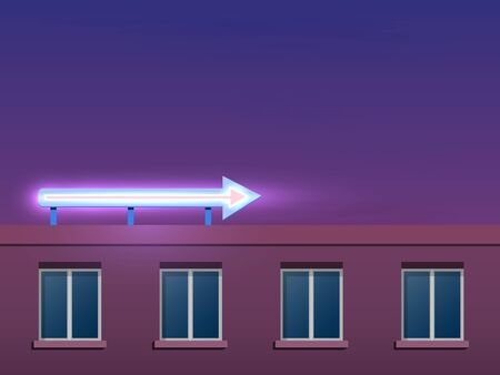 The top floor of a modern panel house. Decorative neon glow shooter on the roof. Night landscape.