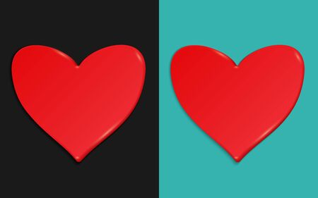 Two red hearts on a dark and turquoise background. Vector illustration. Holiday card on the theme of Valentine's day. Sweet stuff. Material design.