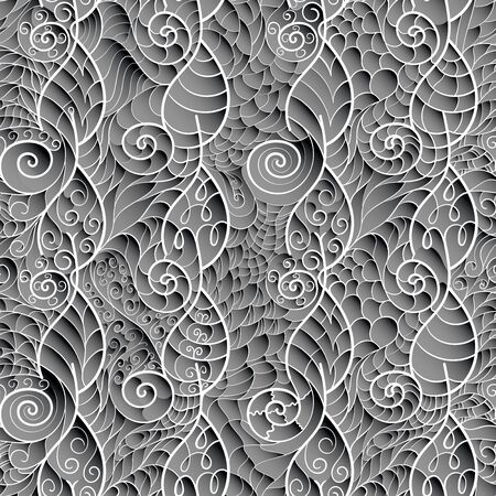 Three-dimensional seamless pattern in gray tones. Sharp lattice of stylized leaves and spirals. Depth simulation.