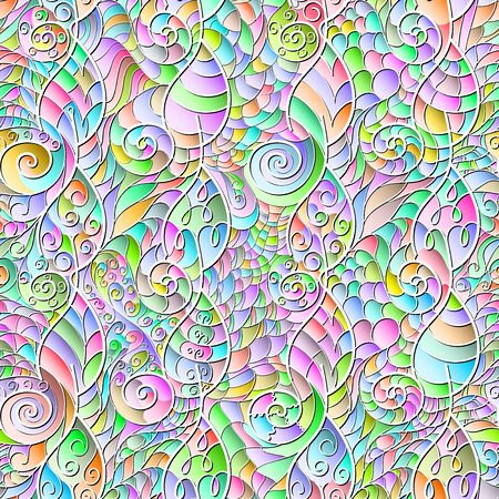 Childrens vector seamless color pattern of leaves and spirals in the style of patchwork.