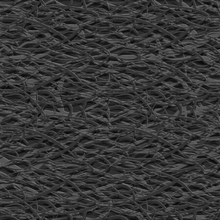 Abstract seamless  background. Long narrow paper strips of dark color are tightly intertwined in a complex chaotic pattern. Ilustração