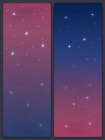 View of the starry sky with clouds. Two variants of the gradient of the evening sky. Wallpaper for your desktop or smartphone. Bookmarks for books. Illustration