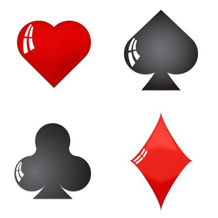 clubs diamonds: Glossy playing card symbols isolated on white background - hearts diamonds spades clubs Illustration