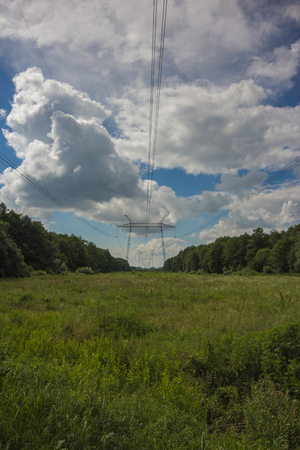 transmission line: picturesque landscape with power lines, electric main, transmission line right in the meadow field in the middle of the forest Stock Photo