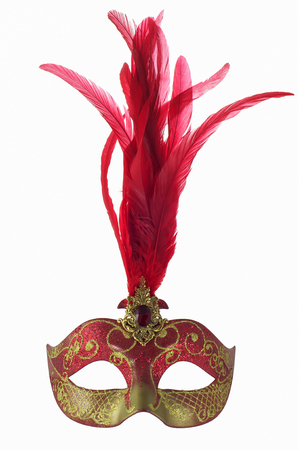 sone: Venice carnival masquerade mask with red feathers and ruby isolated on white background