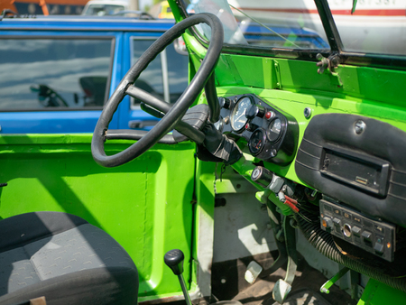 inside old cabriolet buggy with minimalistic interior Stockfoto