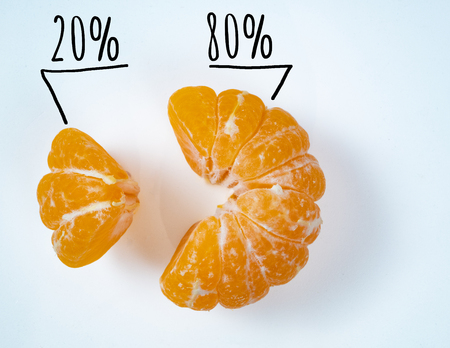 small and big slices of vivid yellow pilled mandarine. depict sales of exotic fruit market pareto rule concept. market share 20 and 80 percent signs Фото со стока