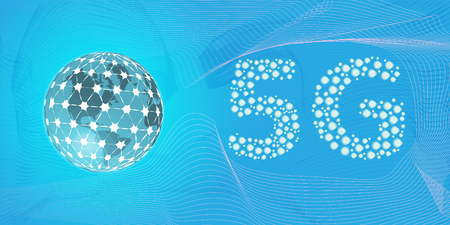 world globe and sign of 5G network next generation of mobile internet connectivity. also good as Artificial Intelligence and Machine Learning concept banner. vector illustration