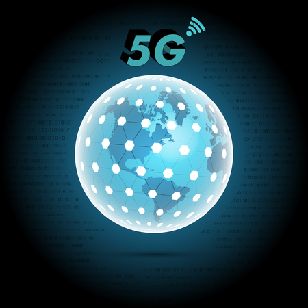 world 3d globe with newest 5g mobile network telecommunication technology sign on top with binary code on background. vector illustration