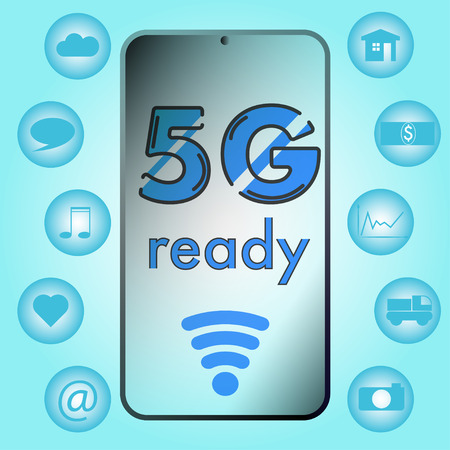 5g network speed ready smartphone latest chip. usage icons like Internet of Things, Big Data, Smart Home, online music, video on demand, streaming service, Cloud Computing, Social Media