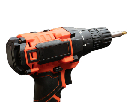 close-up of cordless drill screwdriver on white background. isolated cutout