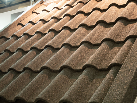 close-up of ceramic weatherproof roof shingles tiles