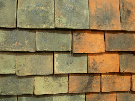 old vintage roof tiles shingles weathered painting