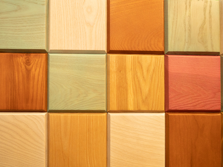 abstract square pattern made from colorful wooden blocks Imagens - 121240941