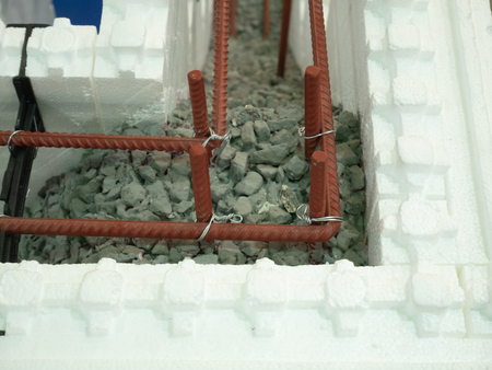 wall cut with armored reinforced concrete filling