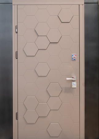 modern entrance front door with hexagon cell pattern Imagens