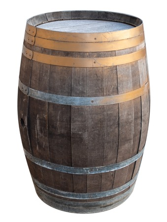 old vintage retro wooden wine barrel with metallic iron rings isolated cutout on white background