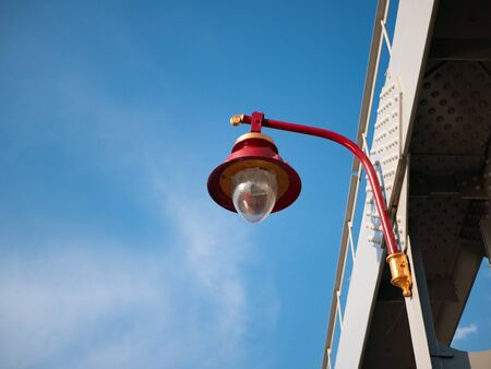 vivid red city lantern with blue sky on background