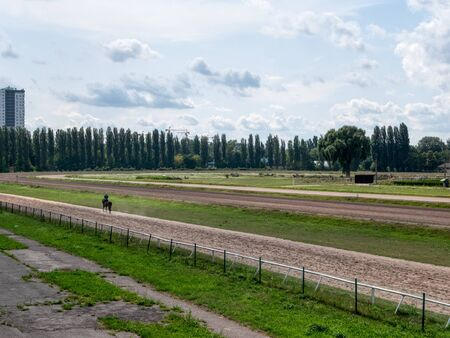 wide shot of hippodrome at summer sunny day with lonely horse running . Imagens