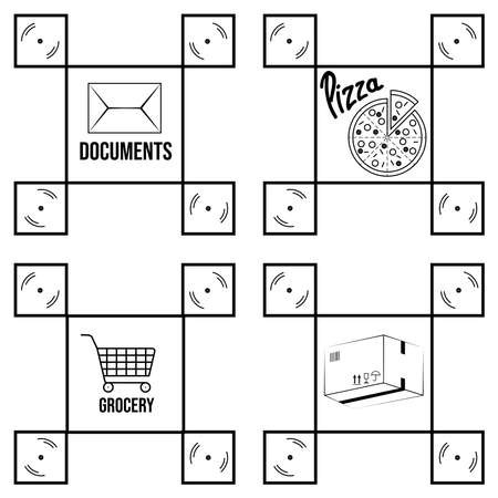drone delivery four icons concept in strict square shape with pizza, mail, documents, package and grocery shopping cart pictures. Vector illustration Illustration