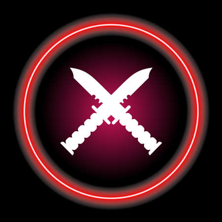 two knives crossed in neon style circle . hunter knife icon concept. Vector illustration