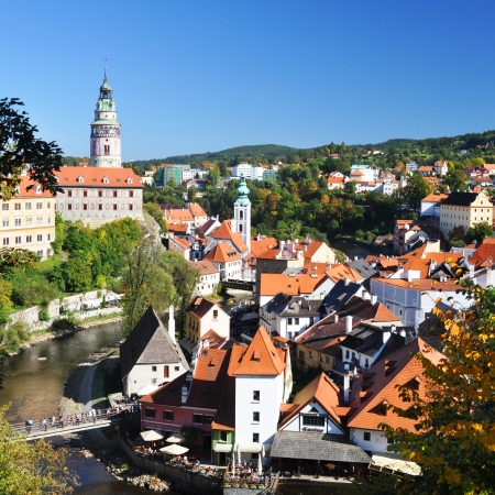 krumlov: Cesky Krumlov castle and town from above, Czech republic Stock Photo