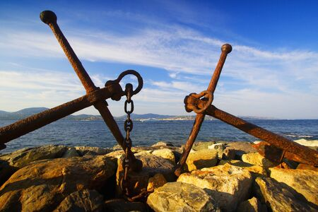 tropez: Harbor, sea and anchor in Saint Tropez. Stock Photo
