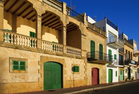 Houses in Porto Colom. Stock Photo