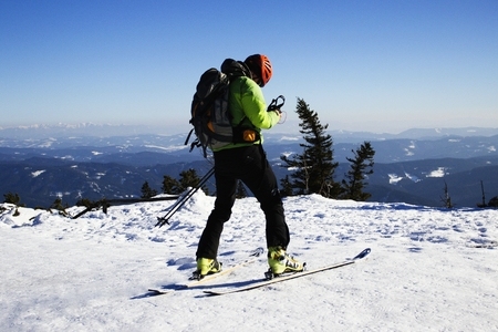 And skier he Lysa mountain. Imagens