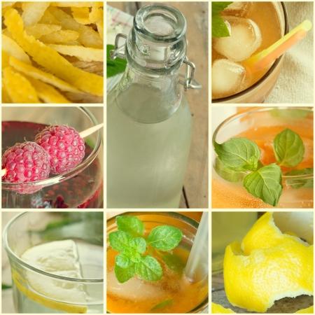 Collage of summer Fruit drinks, lemonade   photo