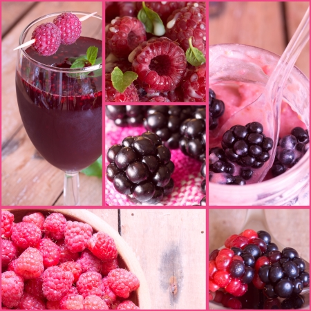 Collage of fresh berries Raspberry smoothie and blackberry ice cream