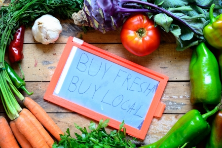 Fresh organic food with buy local concept  photo